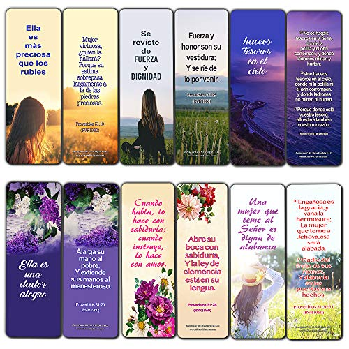 Spanish Bible Verses About Virtuous Woman Bookmarks (30 Pack) - Handy Spanish Bible Texts to Learn What Traits Define and Constitute Virtuous Women from The Many Lessons of The Bible