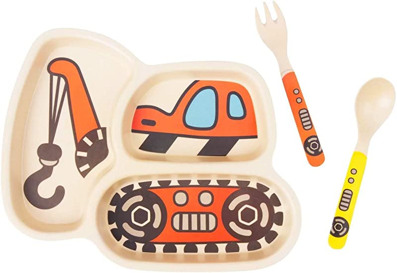 LIBOYUJU Children S Plate Set Bamboo Fiber Cutlery Baby Feeding Leakproof Retaining Suction Cup Divider Board Baby Spoon And Fork 3 Piece Set C