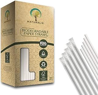Naturalik 300-Pack Individually Wrapped Paper Straws JUMBO - 100% Biodegradable Dye-Free Premium White Paper Straws Bulk- Drinking Straws for Juices, Smoothies, Restaurant (Jumbo 10.2