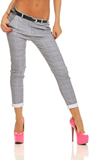 Fashion4Young 11539 Women's Treggings Business Checked Trousers Office Checked Trousers Stretch Low Waist