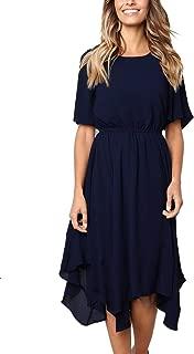MISSLOOK Women's Short Sleeve Midi Dress Empire Waist Summer Chiffon Dress Round Neck Asymmetrical Irregular Hem Dress