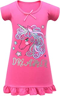 Thombase Unicorn Cute Dolls Printed Comfy Loose Fit Pyjamas Girls Dress Nightgown Nightie Nightwear Pjs