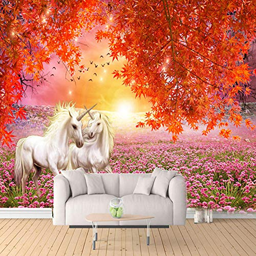 VGFGI 3D Photo Wallpaper Wall Maple Tree red Leaves White Horse Large Mural 3D Living Room Sofa TV Background Decorative mural-460cm(W) x280cm(H)