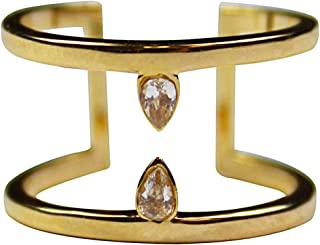 Raindrop Gold Ring for Women or Girls- 14K Gold Plated Cuff Ring with Two Classic Teardrop Shaped Clear Cubic Zirconia Crystals