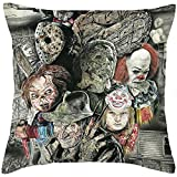 Fyon Ghost Freddy Toy Bear Doll Horror Game Cushion Cover Classic Game Pillow Cover Decorative Pillows for Sofa Car 18x18inch 10R