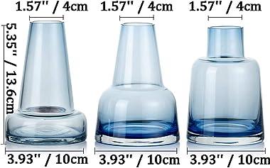 Vase En Verre De Haute Qualité Pour Les Fleurs 3 Pièces Bleu Bourgeon Vase Verre épais Cristal Décoratif Demijohn Fit Pour Mi
