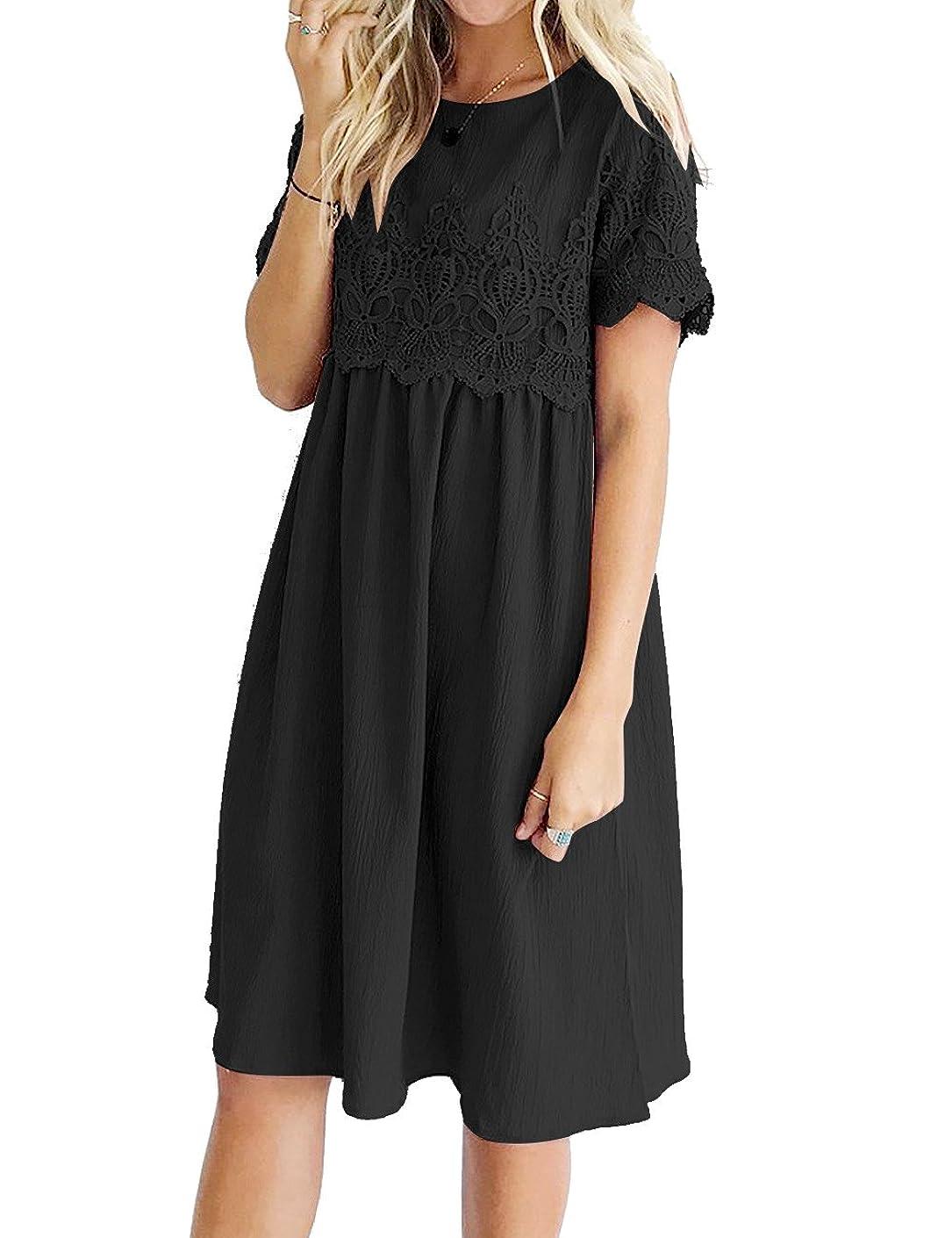 Lookbook Store Women Lace Crochet Back Keyhole A Line Short Casual Babydoll Dress