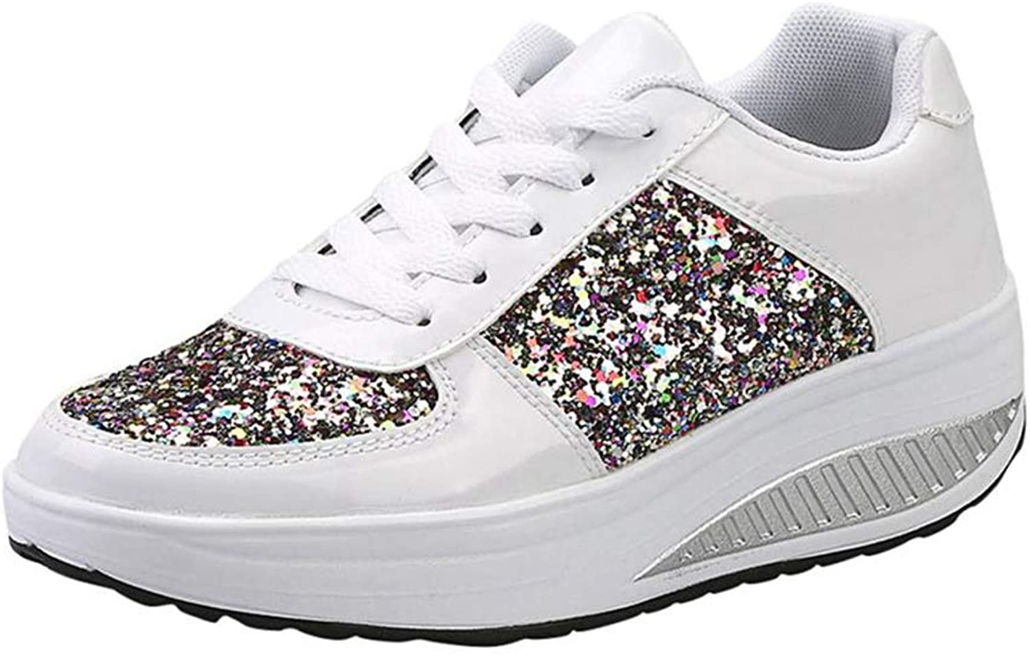 T-JULY Women's Ladies Wedges Sneakers Sequins Shake shoes Women shoes Fashion Girls Sport shoes