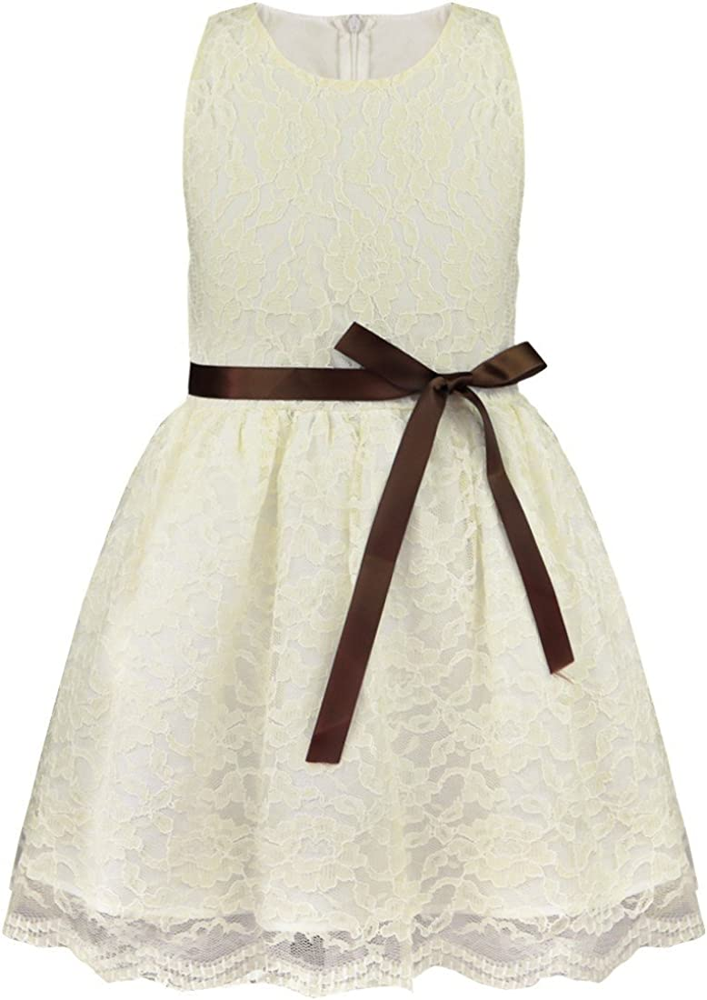 FEESHOW Girls Kids Lace Flower Dress Princess Wedding Pageant Party with Bow Sash