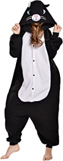 Black/White cat Costume Sleepsuit Adult Pajamas