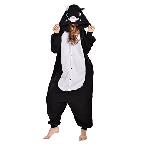 NEWCOSPLAY Adult Unisex Black Cat Onesie Pajamas Costume 373b28a0d10ef