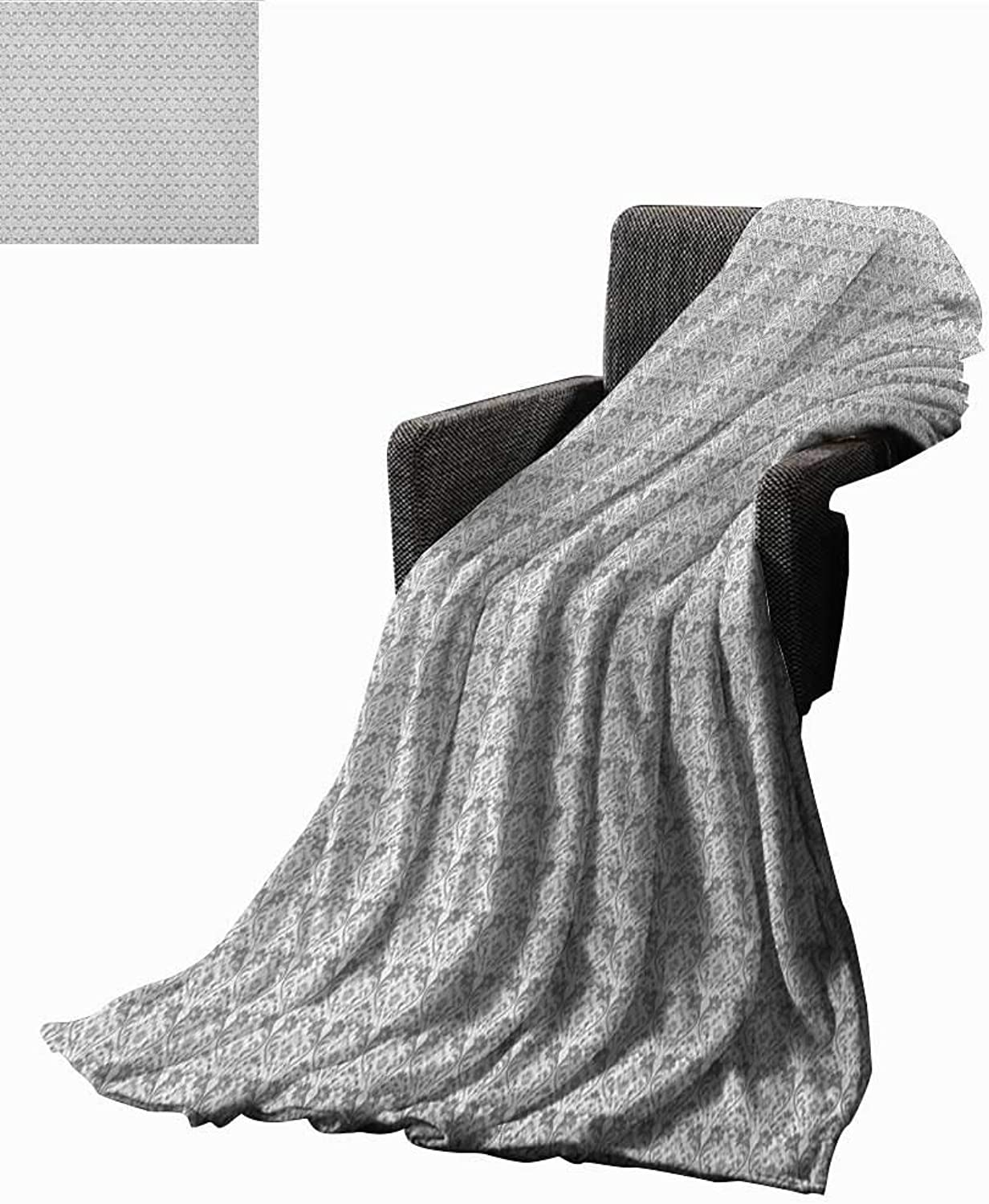 Bed or Couch 60  x 35 Grey and White Microfiber All Season Blanket Vintage Flourishing Flowers with Traditional Design and Curves Print Summer Quilt Comforter Grey Pale Grey White