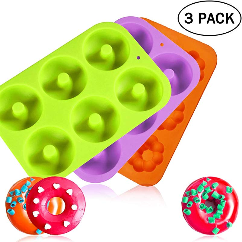 3 Pack Silicone Donuts Baking Pan 6 Cavity Non Stick Round And Flower Donuts Mold Dishwasher Oven Microwave Freezer Safe COKWO