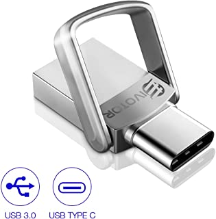 USB Flash Drive 32GB, EIVOTOR USB Stick 3.0+Type C Memory Stick 2 in 1 Dual OTG USB Memory Waterproof up to 140MB/s Metal with Keychain for Computers, Samsung Galaxy S8 Plus, Note 8, LG, Google Pixel