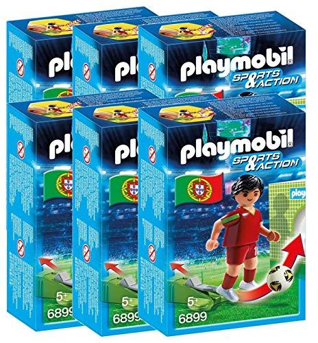 P 6 Joueurs de Foot Portugal Playmobil Sports