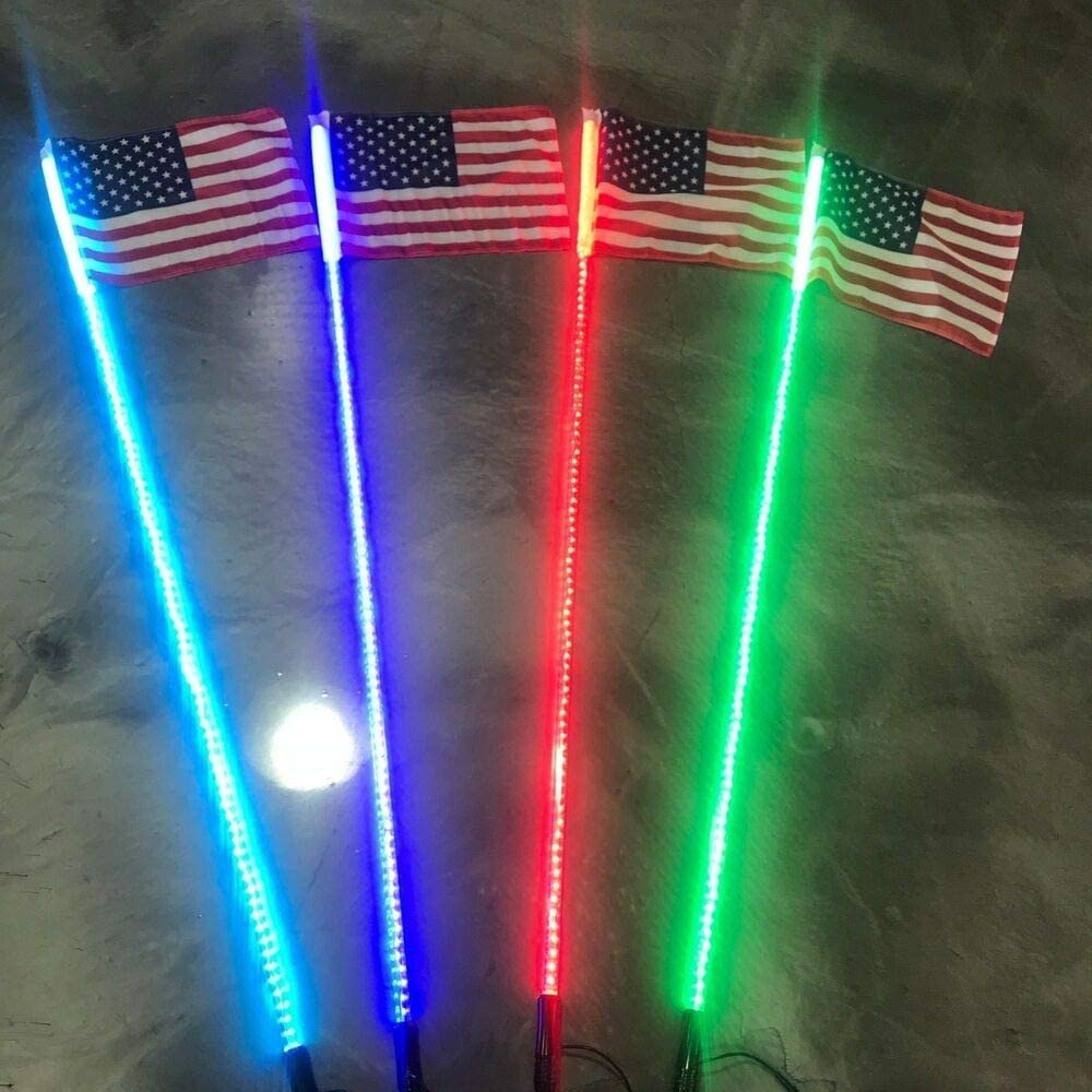 2 pack Aces Arlington Mall 5ft Lighted safety LED American Whip Compatible Flag w RGB