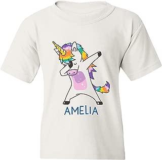 Personalized Unisex Youth T-Shirt Dabbing Unicorn
