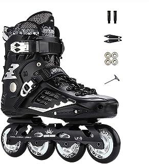 プロのフラットフラワーインラインスケート、初心者のための大人用ワンピースブラケットローラースケート、ブラック、ホワイト (Color : Black, Size : 43 EU/10 US/9 UK/26.5cm JP)