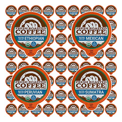 Fresh Roasted Coffee LLC, Water Decaf Coffee Pod Variety Pack, Medium Roast, Compatible with 1.0 / 2.0 Single-Serve Brewers, 72 Count