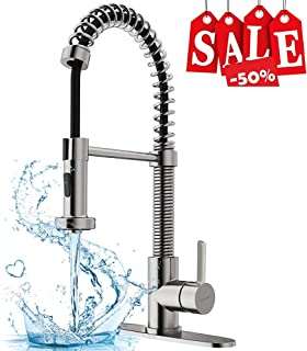KOPAIS Stainless Steel Industrial Kitchen Faucet with Sprayer, [Quick Installation] Commercial Single Handle High Arc Spring Brushed Nickel Sink Faucets, Support 1 or 3 Holes with Deck Plate