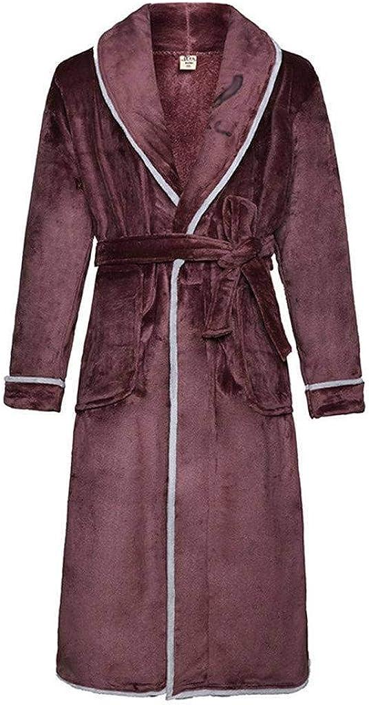 Coral Fleece Shawl Collar Bathrobe,Flannel Men's Robe Soft Cozy Warm Bathrobe for The Man