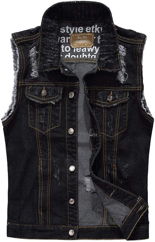 MODOQO Men's Vest Jeans Coat Casual Sleeveless Button Down Lightweight Outwear Jacket