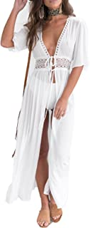 SUNSIOM Women's Chiffon Kimono Cardigan Lace Long Maxi Beach Dress Bikini Covers Up