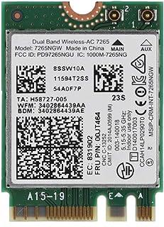 ASHATA para Intel Wireless-AC 7265 Adaptador de Red, Tarjeta de Red WiFi Bluetooth de Doble Banda 2.4G / 5GHz con Interfaz NGFF M2, 802.11 a/b/g/n/AC
