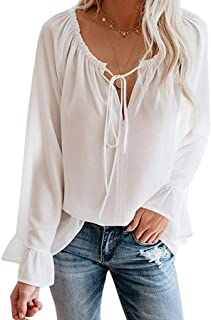 Womens Blouse Off The Shoulder Tops Bell Sleeve Casual Long Sleeve Loose Blouses Shirts