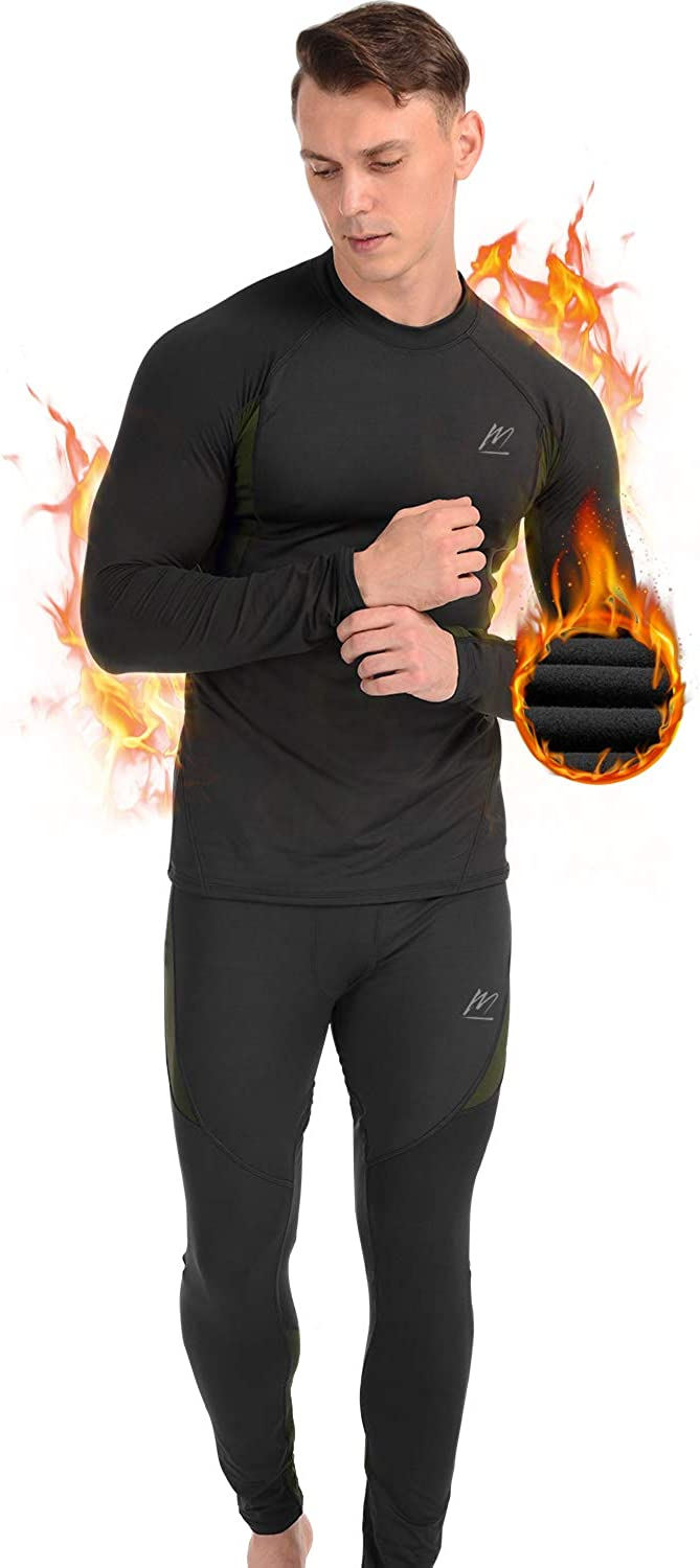 MeetHoo Thermal Underwear for Men, Fleece Lined Base Layer Set Long Johns for Running Skiing