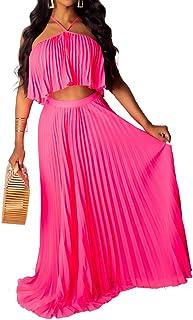 Aro Lora Women's Sexy Chiffon Sleeveless Ruffle Crop Top Pleated Long Skirt 2 Piece Maxi Dress
