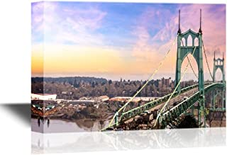 wall26 - Bridge Canvas Wall Art - St Johns Bridge in Portland Oregon Over Willamette River with Mt St Helens View - Gallery Wrap Modern Home Decor | Ready to Hang - 24x36 inches