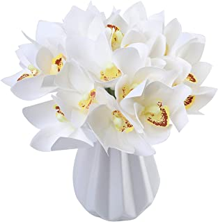 Jyi Hope Artificial Cymbidium Orchid Fake Faux Flowers 12Pcs High Quaulity Latex Real Touch Bouquet for Home Wedding Party DIY Decoration (White)