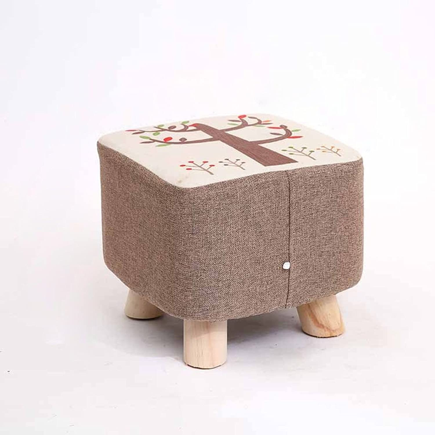 Round Stool Sofa Stool Stool Solid Wood shoes Stool Small Stool Fabric Living Room Four Legs Square Stool (color   C, Size   282525cm)