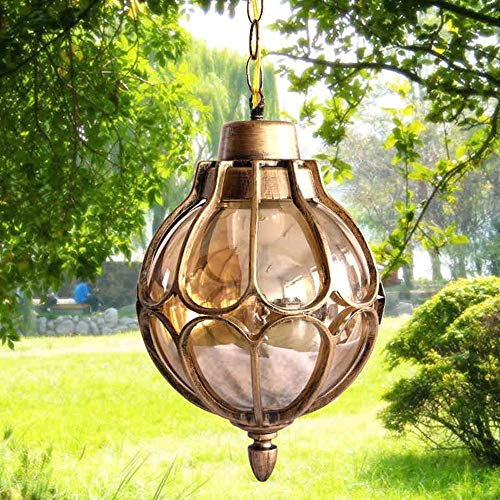 BJClight Classic 1-Light Outdoor Waterproof Pendant Light European Tradition Victoria Glass Lantern Ceiling Lamp Chandelier E27 Decoration Lighting Fixture for Courtyard Villa Balcony Terrace Aisle Ga