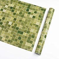 砂壁に貼れる壁紙,壁紙シール はがせる リメイクシート ,キッチントイレPVCの自己接着モザイクの壁紙、レンガの壁の模様のリビングルームの壁紙の格子背景壁のステッカー、作物可能な壁紙-緑_45cmx10m