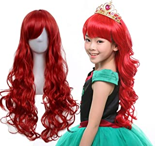 Shumeier Long 60cm kids Girl Synthetic Anime Cosplay Red Hair Wigs For Party