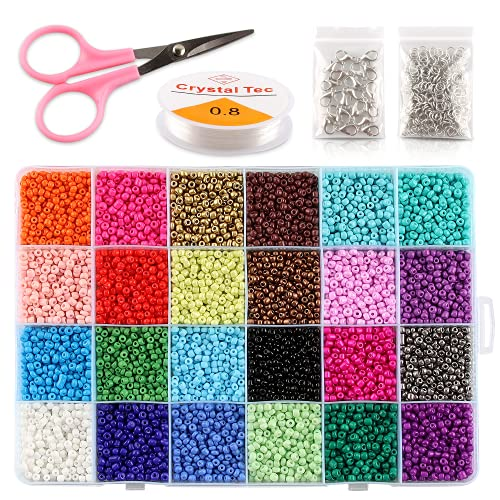 Esportic Cuentas de Colores 3mm 12000 Piezas Colores de Vidrio Perlas de...