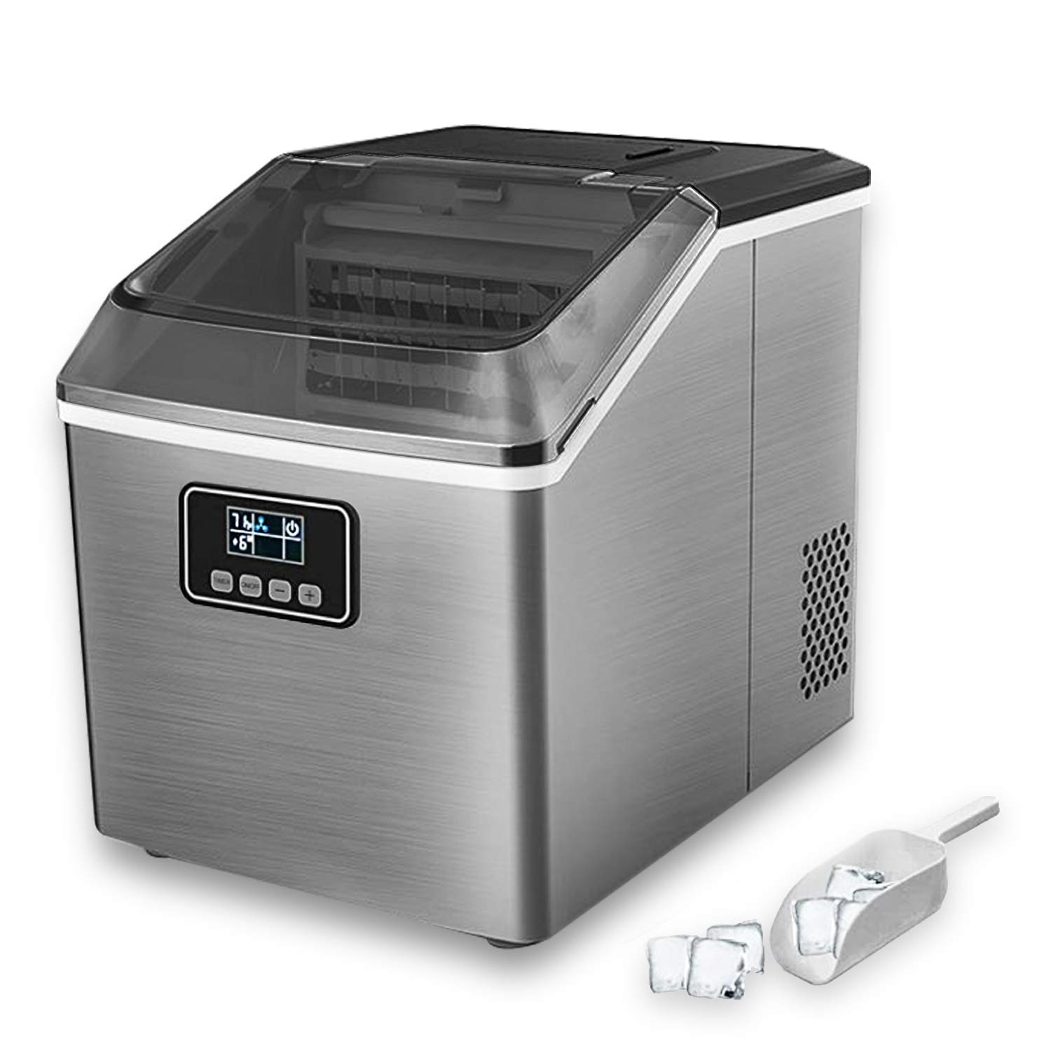 Portable Ice Maker Machine for Countertop, 40LBS Ice Cubes Daily with LED Display Self-Cleaning Function Perfect for Home Office Bar Parties, Electric Nugget Ice Maker with Ice Scoop and 2.4L Basket