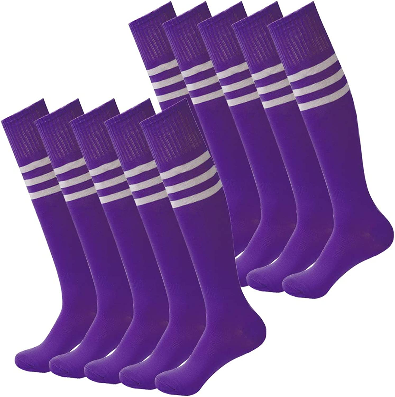 Fasoar Unisex Knee High Stripe Football Sports Tube Socks 2 Pack,6 Pack,10 Pack