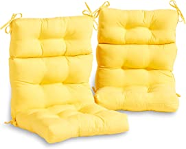 South Pine Porch AM6809S2-SUNBEAM Solid Sunbeam Yellow Outdoor High Back Chair Cushion, Set of 2