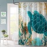 "GXQQ Sea Turtle Shower Curtain Set with Hooks, Turquoise Sea Turtle Starfish with Aquatic Plant Rustic Blue Ocean Creature Theme Beach Landscape Fabric Shower Curtain Set with Hooks, 60"" x 72"""