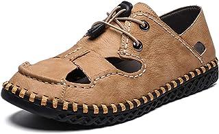 Sandales De Sport En Plein Air Pour Hommes, Chaussures D'été En Cuir, Chaussures De Plage, Sandales En Cuir De Grande Tail...