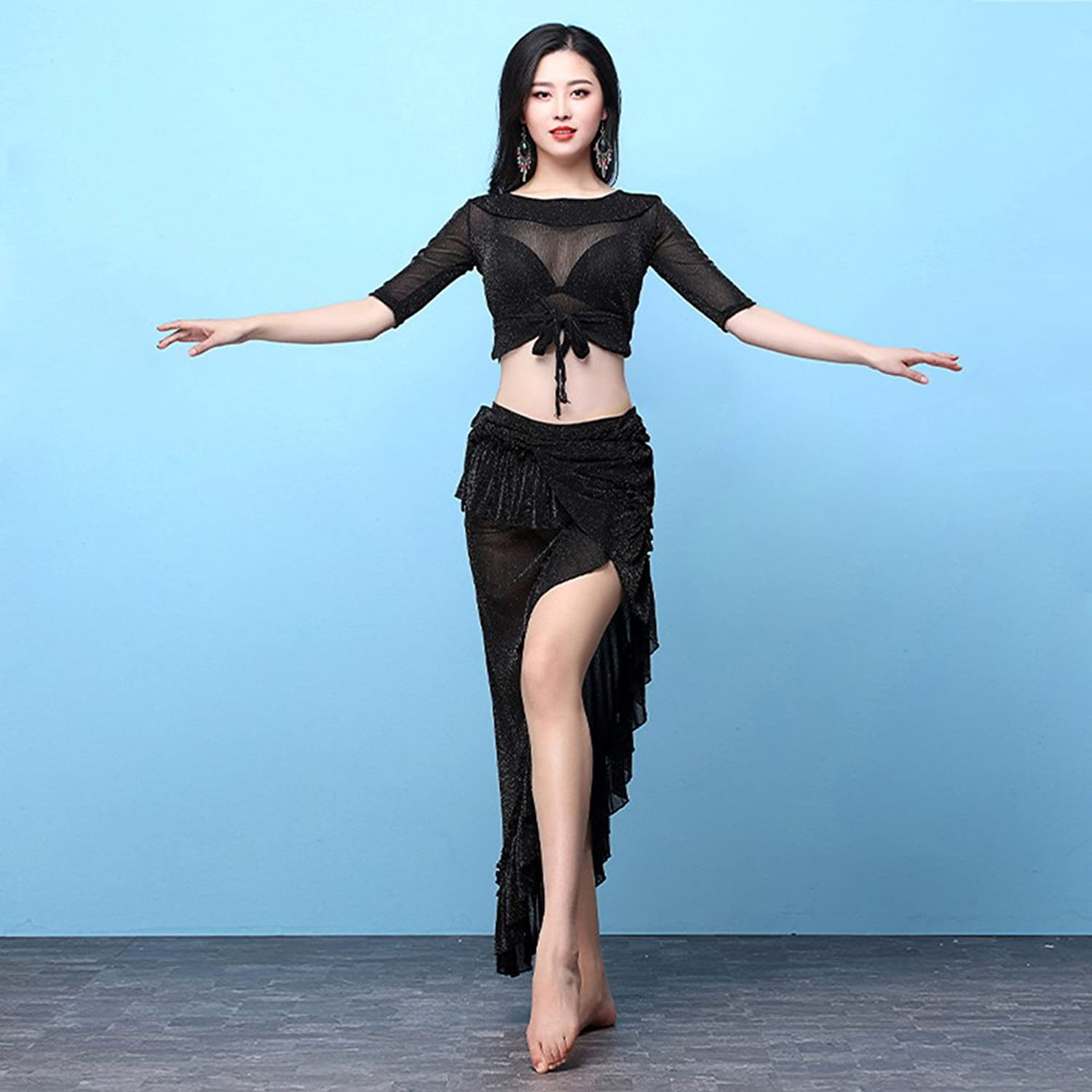 Xueyanwei Professional Lady Belly Dance Costumes Indian Dance Dress Exercise Clothes Dance Competition Performance Dress
