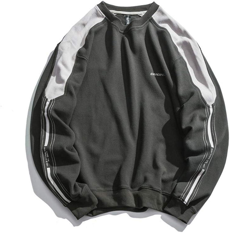 ZEVYM Men's Contrast Sweater Men's Round Neck Turtleneck Youth Trendy Neutral Loose Sweater Jacket