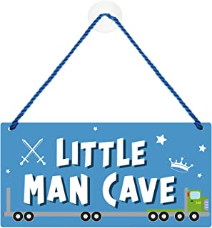 Little Man Cave Sign Toddler Boy Bedroom Decor 12 x 6 Inches PVC Plastic Decoration Hanging Sign Waterproof Nursery Wall D...