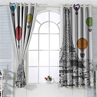 hengshu Paris Eiffel Tower Cityscape Decor Blackout Shades Curtains Notre Dame with Colorful Hot Air Balloons for Window Curtains Valances W96 x L96 Inch LGrey White Green Blue Yellow