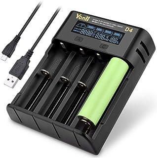 Loijon D4 LCD 18650 Carregador de Bateria 4 Slot para 18650 21700 26650 Lítio AA AAA Nimh Bateria