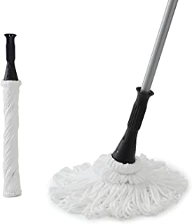 Eyliden Microfiber Twist Mop - Hand Release Washing Mop for Floor Cleaning - Dry&Wet Mops with Wringer, 2 Removable Washable Heads, 57.7inch Long Handle, Scouring Pad (White)