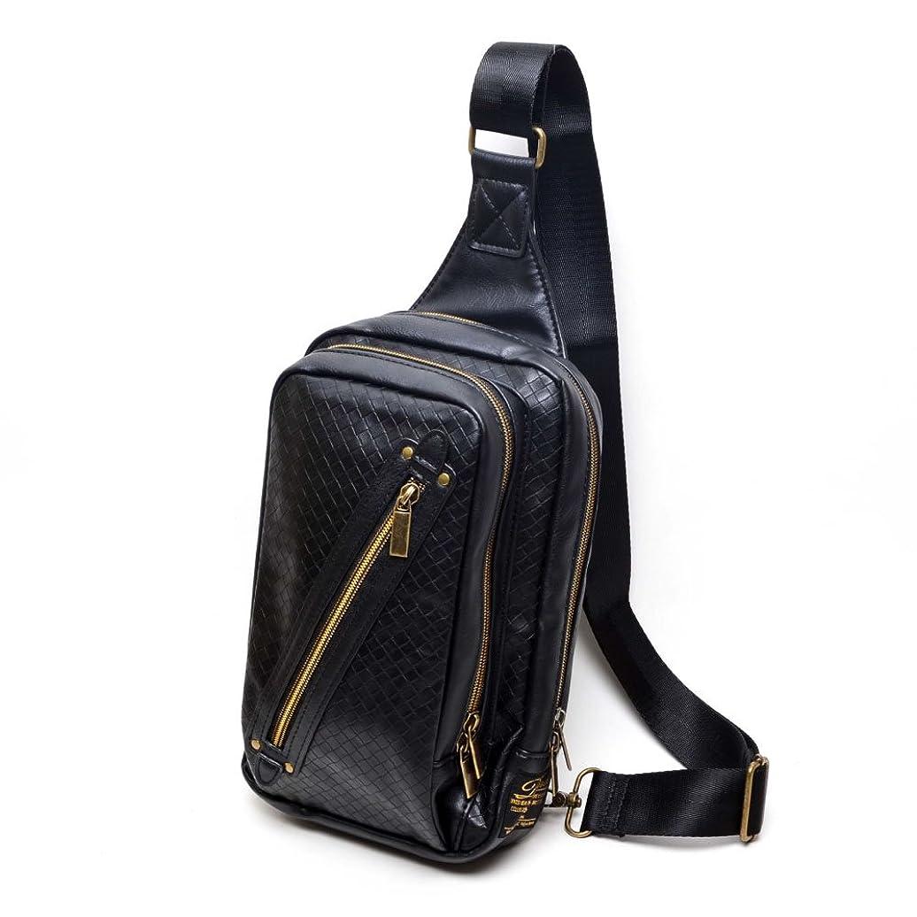 法医学ピアノの(Marib select) 斜めがけバッグ ボディバッグ イントレチャート エンボス加工 PUレザーワンショルダー メンズ バッグ 鞄 (3color)